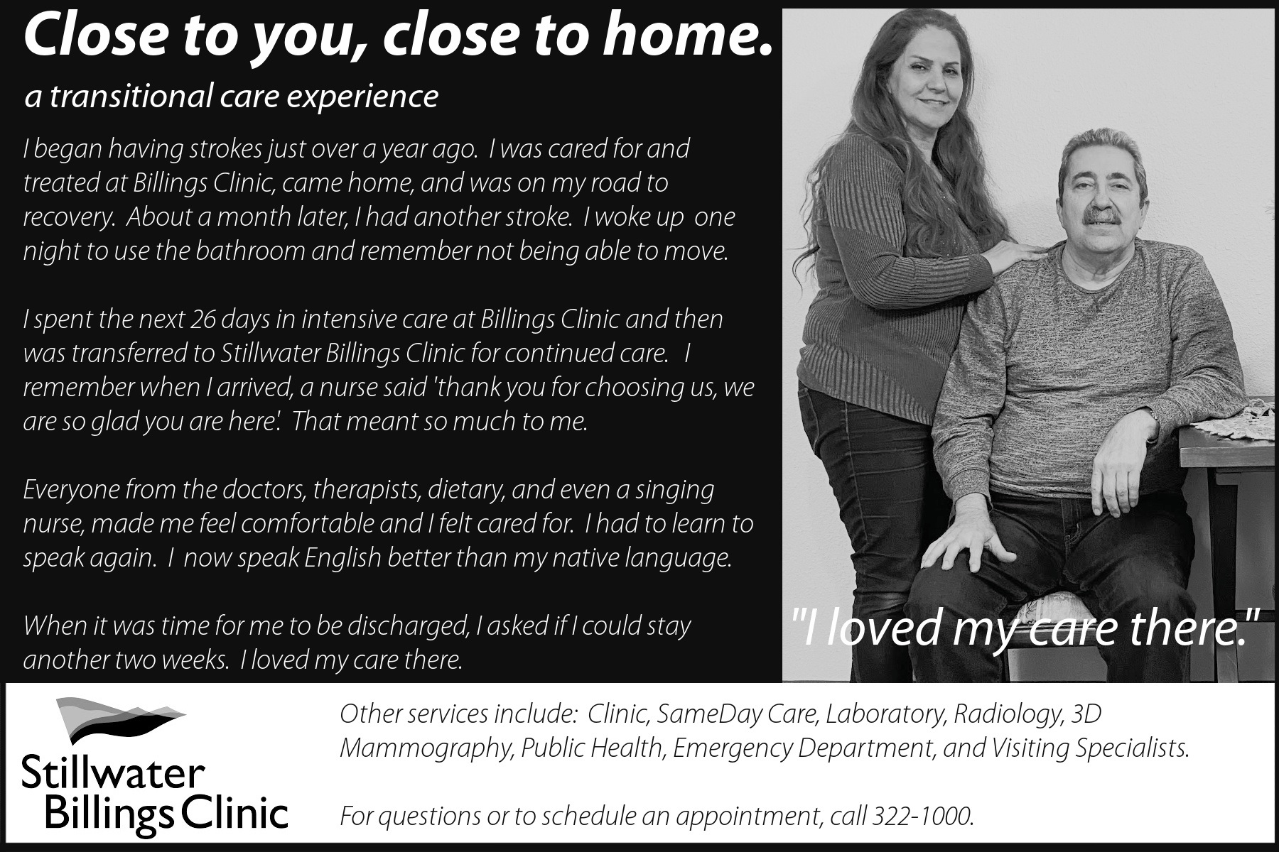 Stillwater Billings Clinic Testimonial Ad