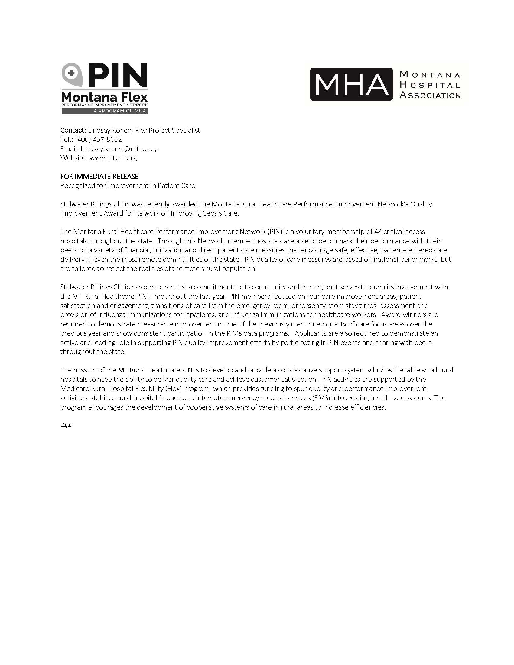 Stillwater Billings Clinic Receives PIN Award